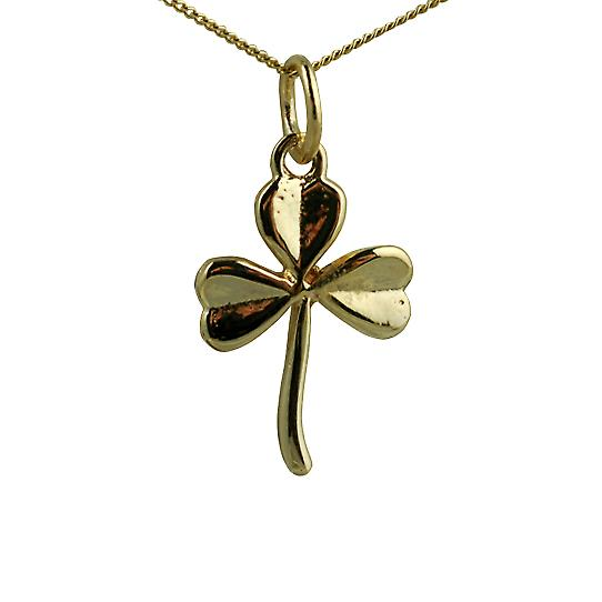 9ct Gold 16x12mm Shamrock Pendant with a curb Chain 16 inches Only Suitable for Children