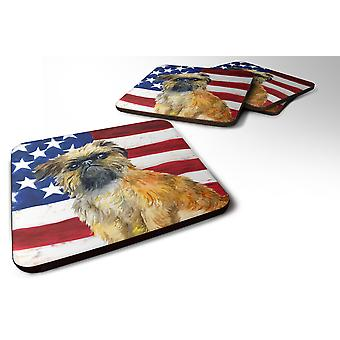 Set of 4 Brussels Griffon Patriotic Foam Coasters Set of 4