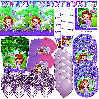 Sofia the first party set XL 74-teilig for 6 guests Sofia party birthday decoration party package
