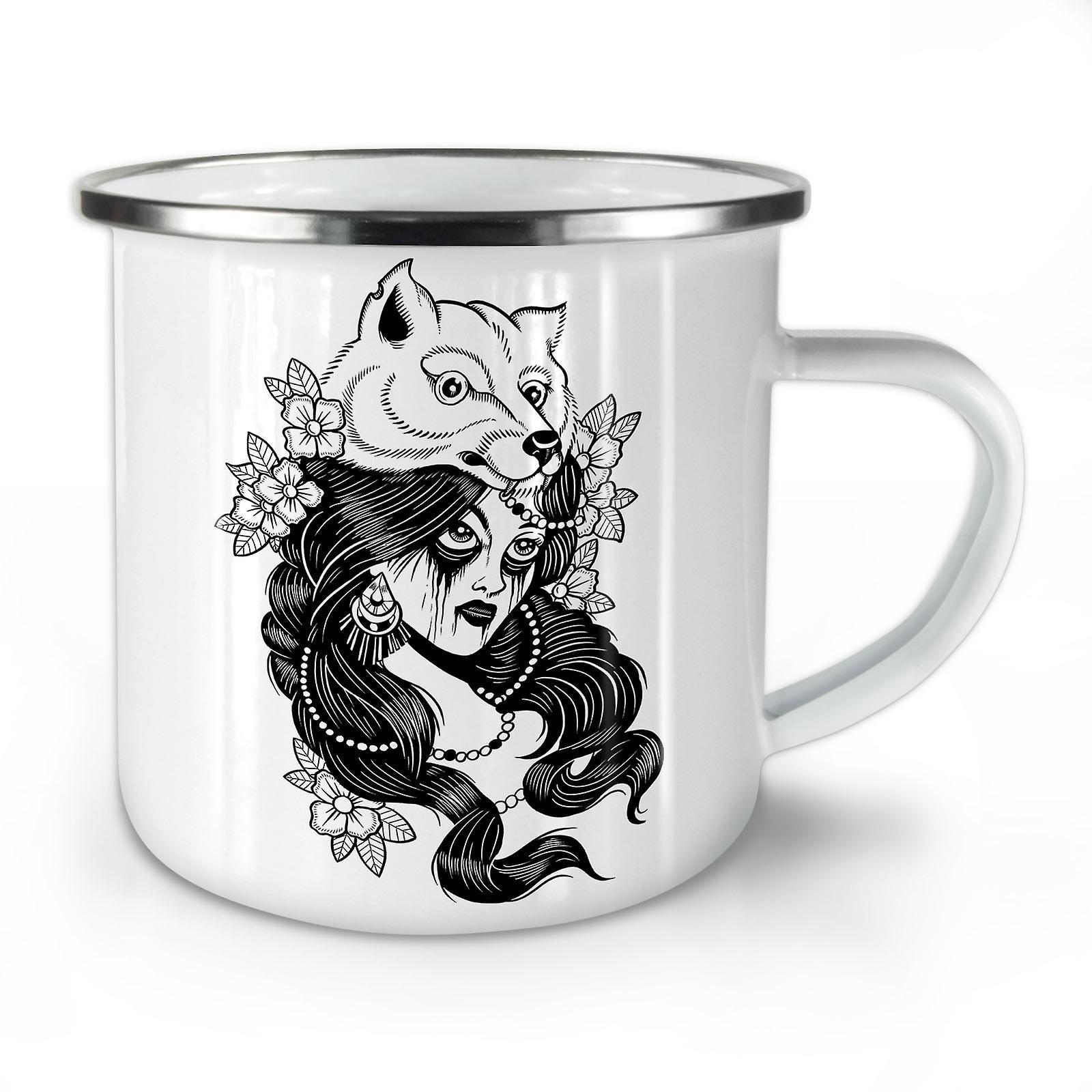 Émail OzWellcoda Mug10 Tribu Loup Café Fille Mode Nouveau Whitetea w0Pk8XnO