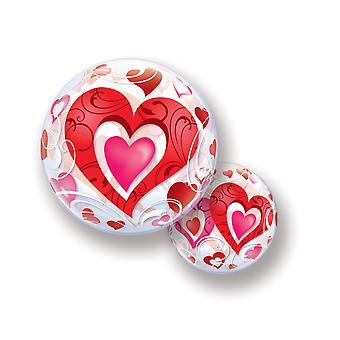 Ballon Bubble Kugel Hearts Herzen Liebe Glückwünsche circa 55cm Folienballon