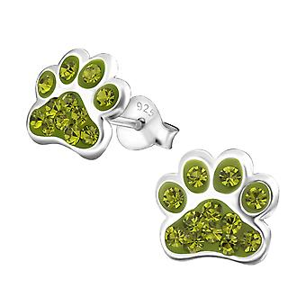 Paw Print - 925 Sterling Silver Crystal Ear Studs