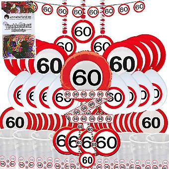 Party box 60 birthday 58-teilig Deco traffic sign party package