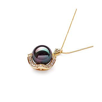 Pendant yellow gold Pearl of black culture and stones Cz