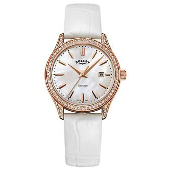 Rotary Womens Oxford Leather Strap Rose Gold Quartz LS05096/41 Watch