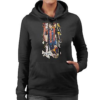 Sidney Maurer Original Portrait Of Luis Suarez Barcelona Women's Hooded Sweatshirt