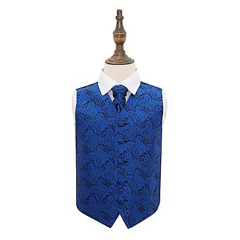 Royal Blue Paisley Wedding Waistcoat & Cravat Set for Boys