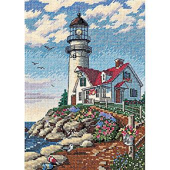 Gold Petite Beacon At Rocky Point Counted Cross Stitch Kit-5