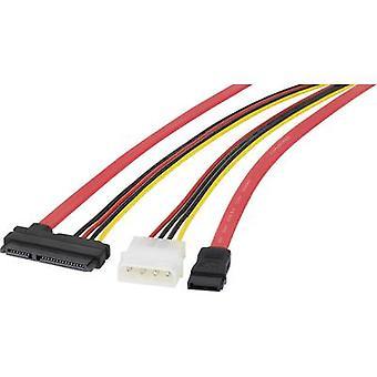 Renkforce ハード ドライブ ケーブル [SATA ソケット 7 ピン IDE 電源プラグ 4 ピン - 1 x SATA ソケット 2 ピン x 1] 0.50 m ブラック、レッド、イエロー
