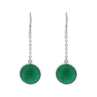 GEMSHINE ladies earrings 925 Silver. 4.5 cm Yoga earrings with excellent quality emeralds. Made in Madrid, Spain. In the elegant jewelry with gift box.