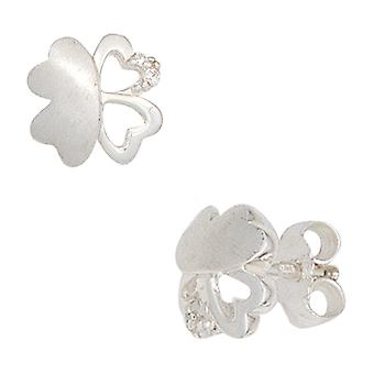 Children earrings clover 925 Silver with cubic zirconia earrings for girl children's jewellery