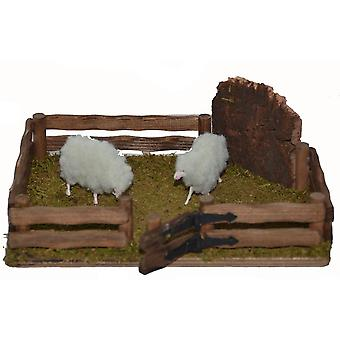 Deer Park wood with fur sheep for Christmas Nativity stable Nativity accessories