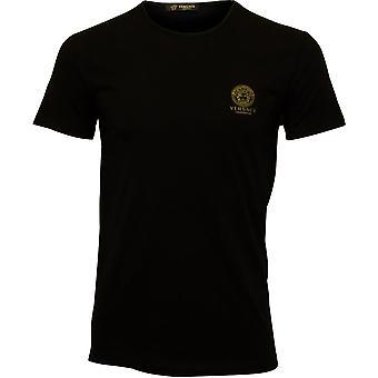 Versace Iconic Crew-Neck Stretch Cotton T-Shirt, Black