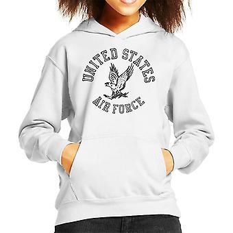 US Airforce Eagle Black Text Kid's Hooded Sweatshirt