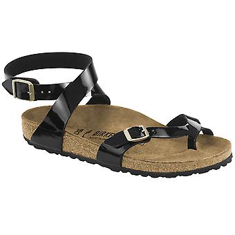 Womens Birkenstock Yara Birko-Flor Black Patent Strappy Summer Sandals