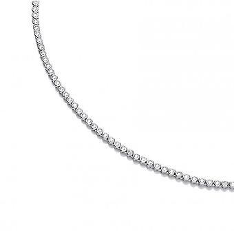 Cavendish französische Silber und CZ Solitär Tennis Halskette