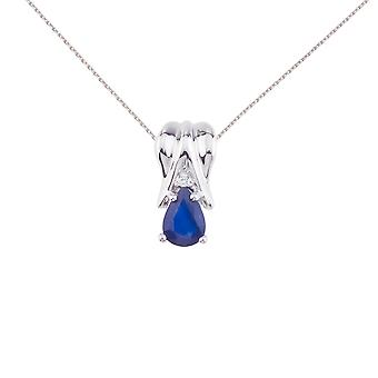 14k White Gold Sapphire Pear Pendant with Diamonds and 18