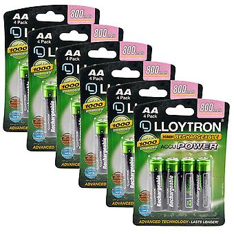 24 x Lloytron Rechargeable Accupower AA Ni-MH Batteries 800mAh