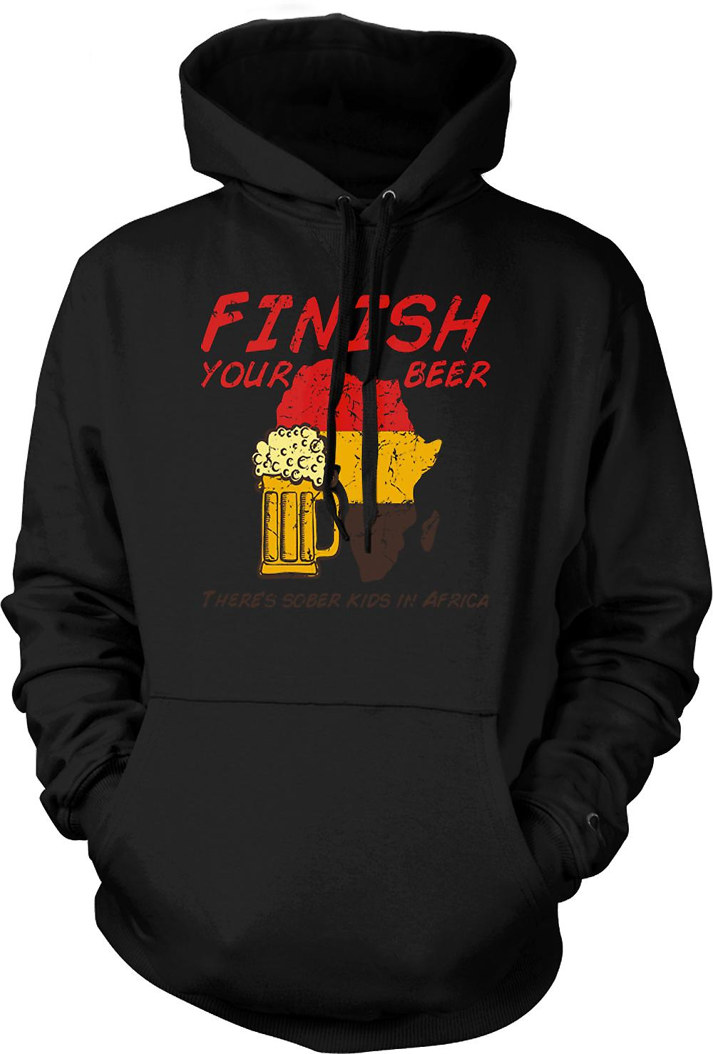 Mens Hoodie - Finish Your Beer Theres Sober Kids In Africa - Funny