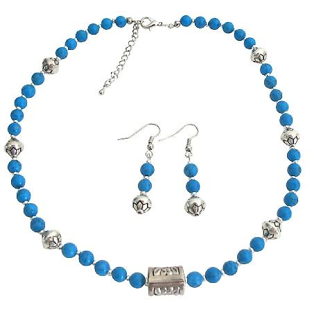 Turquoise Necklace Earrings Set with Bali Spacer Beautiful Style