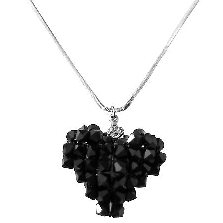 Heart Gift Crystals 3D Puffy Heart Jet Pendant Necklace
