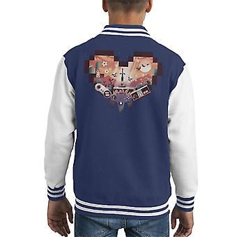 Video Games Pixel hart Kid's Varsity Jacket