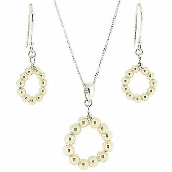 TOC 925 Silver Synthetic Pearl Circle Ring Drop Earrings and Pendant Gift Set