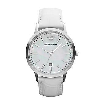 Emporio Armani Ar2465 Classic mujer blanca dial reloj de cuero blanco