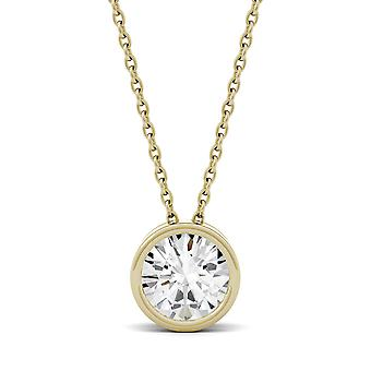 14K Yellow Gold Moissanite by Charles & Colvard 6.5mm Round Pendant Necklace, 1.00ct DEW