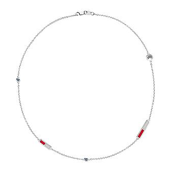U Of Nevada Las Vegas - Rebels Logo Engraved White Sapphire 5-Station Necklace In Red And Grey