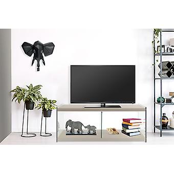 Lowboard Tv Table TV Table Sideboard Glass Wood Living Room Silver Grey