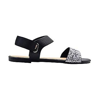 Via Rosa Ladies Fashion Sandals Glitter Summer Flats With Metallic Elastic Slipback Strap