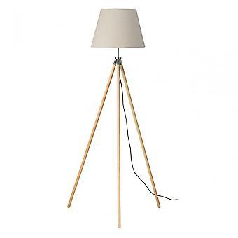 Premier Home Stockholm Tripod Floor Lamp / Uk Plug, Wood, Natural