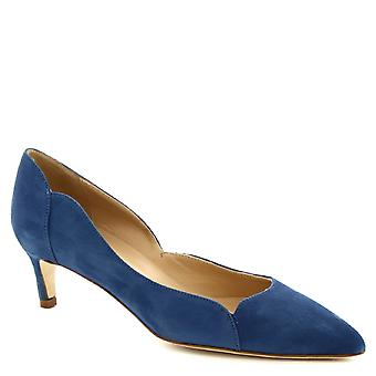 Leonardo Shoes Women's handmade low heels pumps shoes in denim color suede