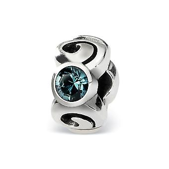 925 Sterling Silver Polished Antique finish Reflections December Crystal Bead Charm
