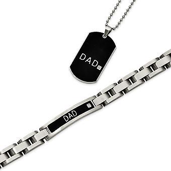 Edelstahl gebürstet Falte-Over-IP beschichtet schwarz, Fancy Hummer Verschluss schwarz verchromte 8,75 Zoll Papa Armband und 24 In Papa