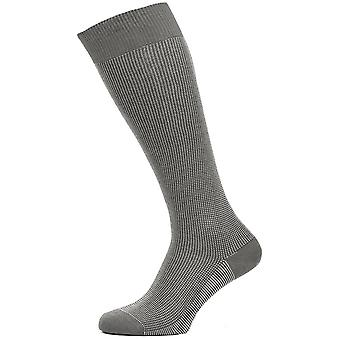 Pantherella Tewkesbury Three Colour Birdeye Over the Calf Cotton Lisle Socks - Mid Grey Mix