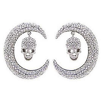 Butler & Wilson Large Crystal Skull Curved Tusk Drop Earrings