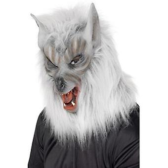 Smiffys Wolf Mask Silver Overhead Latex (Kostuums)