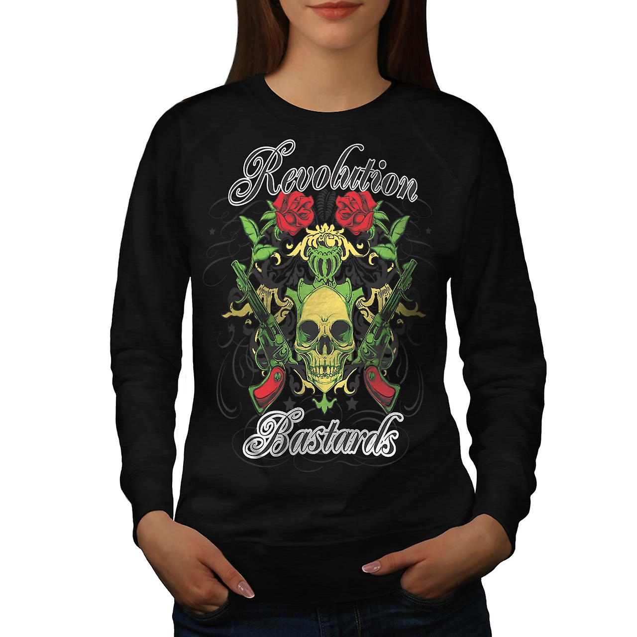 Revolution Bastards Roses Guns Women Black Sweatshirt | Wellcoda