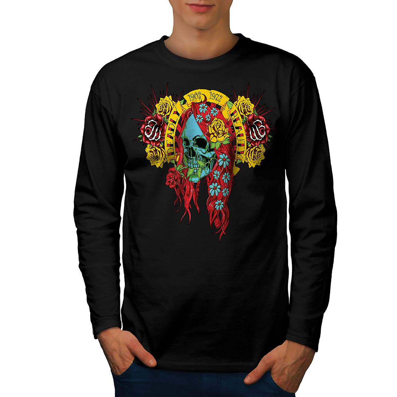 Deadly Beauty Skull Ugly Death Men Black Long Sleeve T-shirt | Wellcoda
