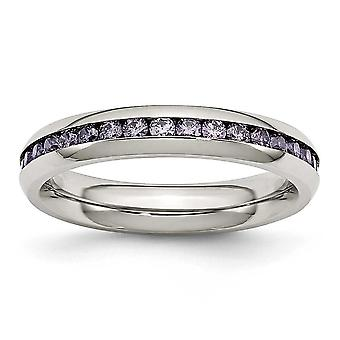 Stainless Steel Polished 4mm February Purple Cubic Zirconia Ring - Ring Size: 6 to 9