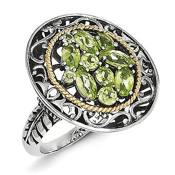 Sterling Silver With 14k Peridot Ring - Ring Size: 6 to 8