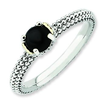 2.5mm Sterling Silver and 14k Stackable Expressions Simulated Onyx Antiqued Ring - Ring Size: 5 to 10