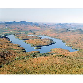 Lake Placid in herfst Adirondack New York Poster afdrukken