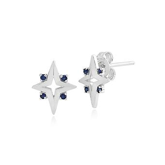 Gemondo Sterling Silver 0.09ct Blue Sapphire Star Stud Earrings