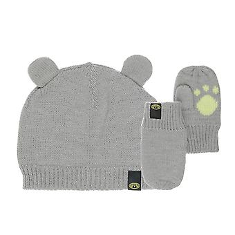 Animal Myke Infant Boy's Hat & Mitten Set - Grey Marl
