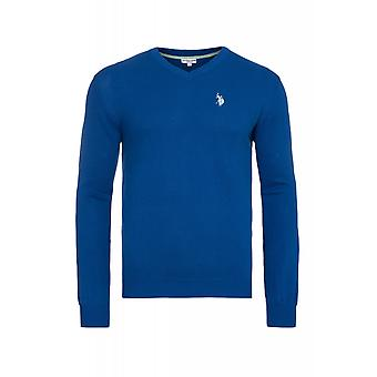 U.S. POLO ASSN. V neck sweater men's sweater blue 173 42964 51894 173