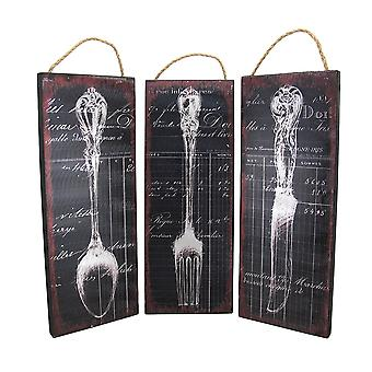 Vintage Silverware and Ledger Print Foil On Wood Wall Hanging Set of 3