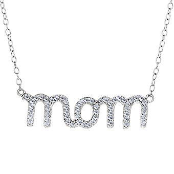 Mom Logo And CZ Necklace In Sterling Silver, 18